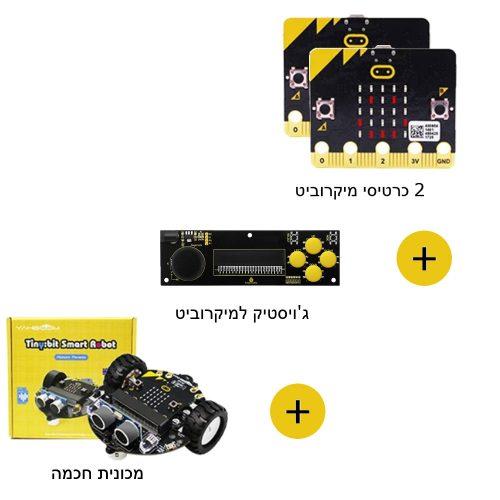שני כרטיסי מיקרוביט + שלט ג'וייסטיק + מכונית רובוטית לתכנות